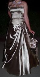 Выпускное оливково-золотистое платье