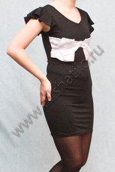 Артикул: A928-1 Черное вечернее платье.  Передняя часть декорирована...
