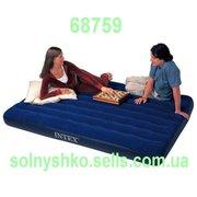Двухместный надувной велюровый матрас Intex 68759