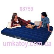 Компактный надувной двухместный велюровый матрас Intex 68759