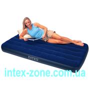 Матрас надувной велюровый 68757 Intex односпальный