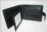 Мужской чёрный кожаный кошелёк