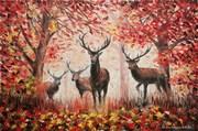 Картина маслом Олени в лесу