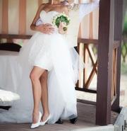 Продам свадебное платье (короткое платье с шикарным шлейфом)