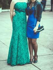 Изумрудное ажурное вечернее (выпускное) платье