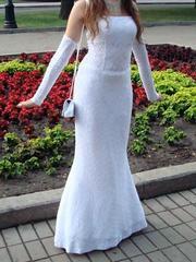 Белое вечернее платье. Размер 44-46;  500 грн!
