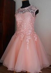 Платье НОВОЕ персикового цвета,  нежное,  пышное,  праздничное.