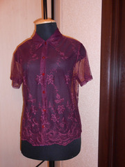 Блузка кружевная,  прозрачная,  темная вишня