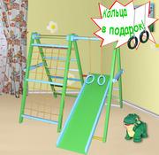 Детский спортивно-игровой комплекс из бука Динозаврик цветной