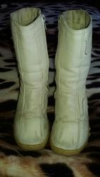 Зимние кожаные сапоги белые,  кремовые для девочки 28 размер