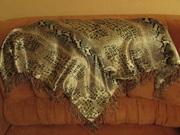 Платок двойной с бахромой (искусственный шелк)