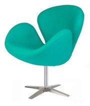 Кресло СВ (СВАН,  Swan) мягкое ткань кашемир,  цвет зеленый
